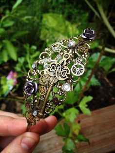 Steampunk Rose and Key Antique Gold Headband Hair Accessory