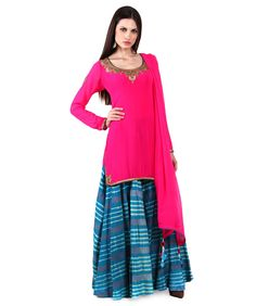Sneh Samta Short Kurti With Silk Leheriya Sharara