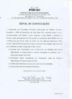 RN POLITICA EM DIA: EDITAL DE CONVOCAÇÃO DE CONVENÇÃO: PARTIDO SOCIALI...