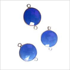 NATURAL BLUE CHALCEDONY COIN STERLING SILVER CONNECTORS 3 PCS   15MM