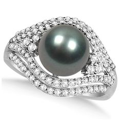 Tahitian Cultured Pearl & Diamond Fashion Ring 14k White Gold (9mm) -Allurez.com