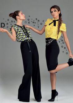 Denny Rose, collezione primavera estate 2014, tubino e pantaloni neri.