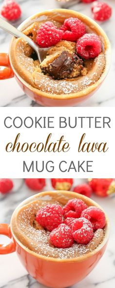 Cookie Butter Chocolate Lava Mug Cake - - Speculoos cookie butter flavored cake is stuffed with chocolate truffles, creating a gooey, melted chocolate center. This cake is only 5 ingredients and is ready to eat in less than 5 minutes! Mug Recipes, Cake Recipes, Dessert Recipes, Cooking Recipes, Steak Recipes, Chocolate Lava, Chocolate Mug Cakes, Melted Chocolate, Mugs