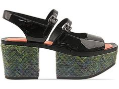 Kenzo sandals in Black Patent Green