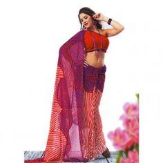 Dual shade printed saree for $30