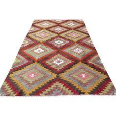"Vintage Diamond Turkish Kilim Rug - 6'3"" x 10'2"" (26,880 MXN) ❤ liked on Polyvore featuring home, rugs, handmade rugs, multi color area rugs, colorful area rugs, wool area rugs and multicolor rug"