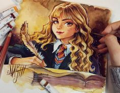 Today i show you my finished painting of Hermione Granger. I really prefer the Holbein Artists watercolors. They have a really authentic color pallet; ) Haha i think autumn season is great to read my the Harry Potter books again ♡ Fanart Harry Potter, Harry Potter World, Arte Do Harry Potter, Theme Harry Potter, Harry Potter Drawings, Harry Potter Jokes, Harry Potter Universal, Harry Potter Fandom, Harry Potter Characters