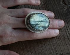 Labradorite Statement Ring . Sterling Silver and Fine Silver Setting . Handcut Sterling Silver Band