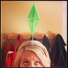 Pin for Later: 18 Last-Minute Costumes For Anyone Obsessed With the Internet Sims Character What you need: Green paper (or white paper and green marker), scissors to cut out a diamond, a headband, and some glue to keep the two together.