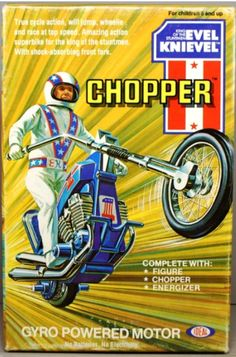 Ideal Chopper. 1970s Childhood, My Childhood Memories, Childhood Toys, Great Memories, 70s Toys, Retro Toys, Vintage Advertisements, Vintage Ads, Evel Knievel Toys