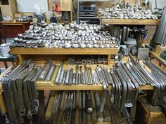 Look at all those stakes! What an amazing set up, but definitely worth visiting the site for more tool envy -Herman Silver Restoration & Conservation: Silversmithing Shop