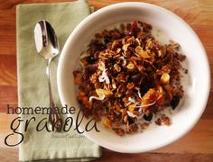 Homemade granola recipe. I want to try this and the best part is there are no nuts so my husband can eat it too.