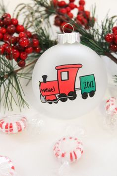 Hand Painted Train Christmas Ornament - Personalized Free - $10 on Etsy.
