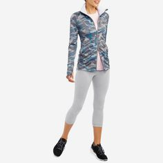 Cupertino Vigor Jacket - Koel Blue / Pure White - Features a mock neck collar, two-way zip and thumbholes to keep your sleeves in place while on the run. Keep your heart warm and your style on point with this superb jacket | Women Sportswear | Yoga & Sports Clothing