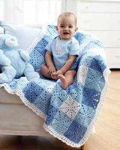 This gingham-style check pattern is made up of dozens of beautiful crocheted squares. A fun spin on a traditional idea. Shown in Bernat Baby Coordinates.