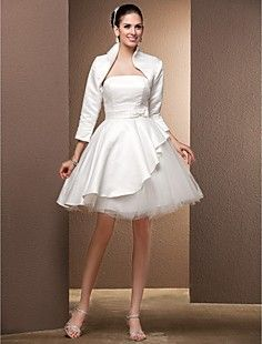 Ball Gown Strapless Knee-length Satin And Tulle Wedding dres... – USD $ 127.39