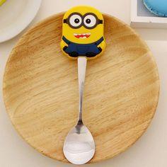 Cartoon Kawaii Stainless Steel Tea Coffee Spoon Kitchen Kids Tableware talheres cocina colher cucharas aparelho de jantar