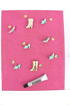 Painted Corkboard and Barbie Push Pins — Party HarDIY Painting Corkboard, Barbie Shoes, Easy Crafts, Magnets, Craft Ideas, Create, Simple, Awesome, Pink