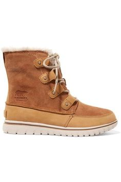 SOREL SOREL - COZY JOAN FAUX FUR-LINED SUEDE AND NUBUCK ANKLE BOOTS - TAN. #sorel #shoes #