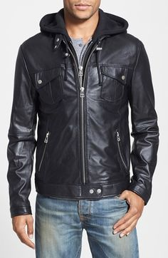 7 Diamonds 'Los Angeles' Trim Fit Leather Moto Jacket with Inset Hood (Online Only) | Nordstrom