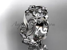 14kt white gold diamond leaf and vine butterfly wedding ring, engagement ring, wedding band ADLR144
