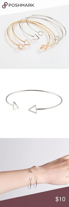 the open triangle bangle bracelet • style name: the open triangle bangle bracelet • color: silver • material: metal alloy • bangle/cuff style bracelet with open triangle embellishment on either side of opening • condition: brand new boutique item ____________________________________________________ ✅ make an offer!     ✅ i bundle! ✅ posh compliant closet ⛔️ no trades  boutique item Jewelry Bracelets
