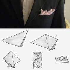 How to fold a handkerchief with four angles. Would you consider replacing his Boutonnière with this classes look for your #wedding