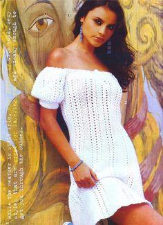 Белое платье с рукавами фонариками вязаное крючком. Сексуальное платье крючком |