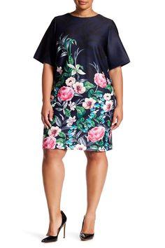 Floral Print Scuba Shift Dress (Plus Size) by Eliza J on @nordstrom_rack