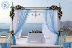 FABIO ZARDI Luxury Floral Design & Wedding Decoration by FabioZardi, via Flickr - Decoration of the wedding gazebo and registrar table centerpiece for the wedding of Miss Nadezhda Goncharova and Mr Sergey Afanasiev, Santorini, June 9th, 2014.