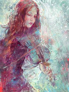 "marta de andrés (marta nael), #painting of a girl playing the violin | #art, ""winterheart"""