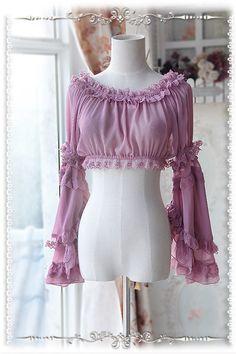 Infanta Detachable Set-in Hime Sleeves Chiffon Lolita Short Version Blouse Kawaii Fashion, Lolita Fashion, Cute Fashion, Blouse Patterns, Blouse Designs, Mode Lolita, Lolita Style, Cute Dresses, Cute Outfits