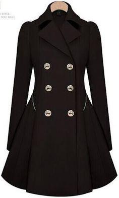 Double Button Turn-down collar Slim Plus Size Coat