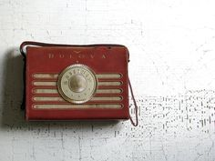 BULOVA radio - vintage red leather - classic and urban farmhouse decor by tribute212 on Etsy