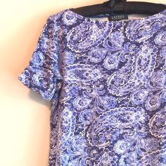 "⛱ SALE Ralph Lauren blue paisley top Lauren- Ralph Lauren Petites. Light and dark blue and white paisley pattern. Looks awesome with white slacks or shorts. Cuffed sleeves. No signs of wear. 17"" across at bust, 20"" long, 9"" long sleeves. Lauren Ralph Lauren Tops Tees - Short Sleeve"