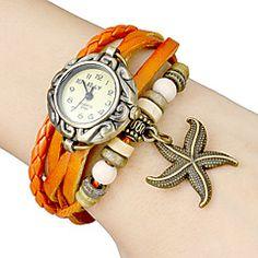 Relógio de Pulso Feminino com Pingente de Estrela do Mar