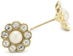 "#sale kate spade new york ""Park Avenue Pearl"" Gold-Tone Flower Stud Earrings"