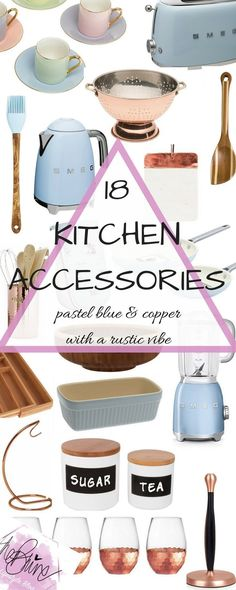 Blue, copper and rustic kitchen accessories for you to cook your way to glam. From pastel blue Smeg appliances to two-tone chopping boards, you are sure to be in interior heaven.