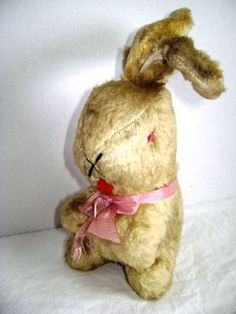 Vintage Bunny Rabbit mohair straw stuffed Squeaker by junquegypsy, $38.20