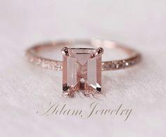 Bague de mariage diamants pour bague Morganite rose par AdamJewelry, $330.00