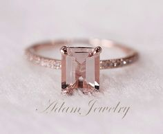 Holy damn, this is beautiful... @Lisa Peters Pink Emerald Cut 6x8mm VS Morganite Ring SI/H by AdamJewelry, $330.00