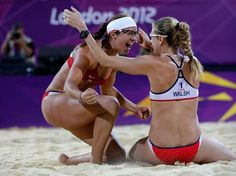 Misty & Kerri of USA celebrate winning the Gold medal in the women's Beach Volleyball (3rd straight Olympic Gold)