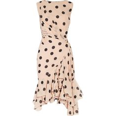Nina Ricci Polka-dot silk-georgette dress (€2.025) ❤ liked on Polyvore featuring dresses, polka dots, vestidos, nina ricci, see through dress, slip dress, snap dresses, sheer dress and asymmetrical dress