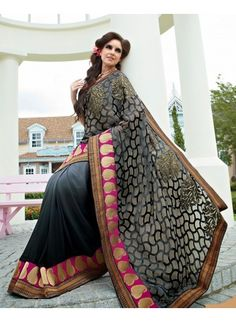Black and Grey Half and Half Brasso and Georgette Saree
