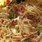 Cold Spaghetti Pasta Salad- very economical and feeds a lot of guests.  I use McCormick's Salad Mate to season mine.