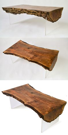 Live Edge Coffee Tables That'll Lend an Organic Touch to Your Living Room Epoxy Wood Table, Wood Slab Table, Wood Table Design, Wooden Tables, Diy Outdoor Furniture, Unique Furniture, Table Furniture, Engine Coffee Table, Coffee Tables