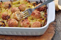 Polpette+di+pollo+con+patate+al+forno