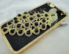 Iphone 5 5S Case - Luxury Handmade Bling Black Crystal Rhinestones 3D Peacock With Leather Skin Cover Cover For iphone 5 5S