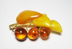 Old Soviet amber brooch USSR baltic amber yellow berries true by CarvingStudio on Etsy
