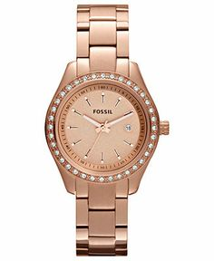 Fossil Watch, Women's Mini Stella Rose Gold-Tone Stainless Steel Bracelet 30mm ES3196 - Women's Watches - Jewelry & Watches - Macy's